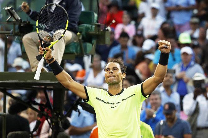 Rediff Sports - Cricket, Indian hockey, Tennis, Football, Chess, Golf - Miami Open: Nadal, Venus advance; Dimitrov, Vesnina ousted