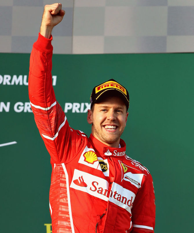 Rediff Sports - Cricket, Indian hockey, Tennis, Football, Chess, Golf - PHOTOS: Vettel wins in Australia, Hamilton second