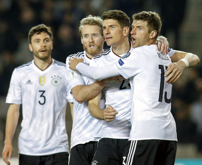 Rediff Sports - Cricket, Indian hockey, Tennis, Football, Chess, Golf - PHOTOS: Germany crush Azerbaijan, England struggle to victory