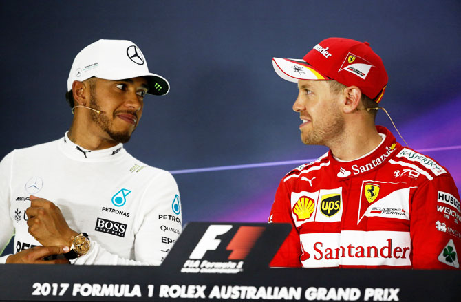 Rediff Sports - Cricket, Indian hockey, Tennis, Football, Chess, Golf - Hamilton expects a close season, a 'best v best' duel with Vettel