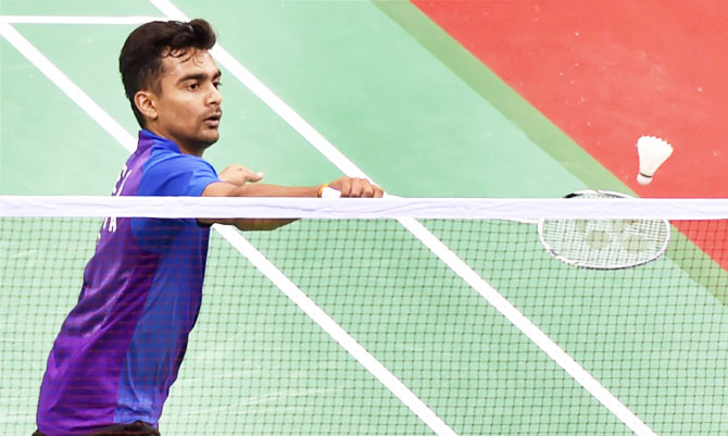 India's Sameer Verma plays a return against Hong Kong's Hu Yun during the men's singles match at the Yonex Sunrise India Open 2017 in New Delhi on Thursday.