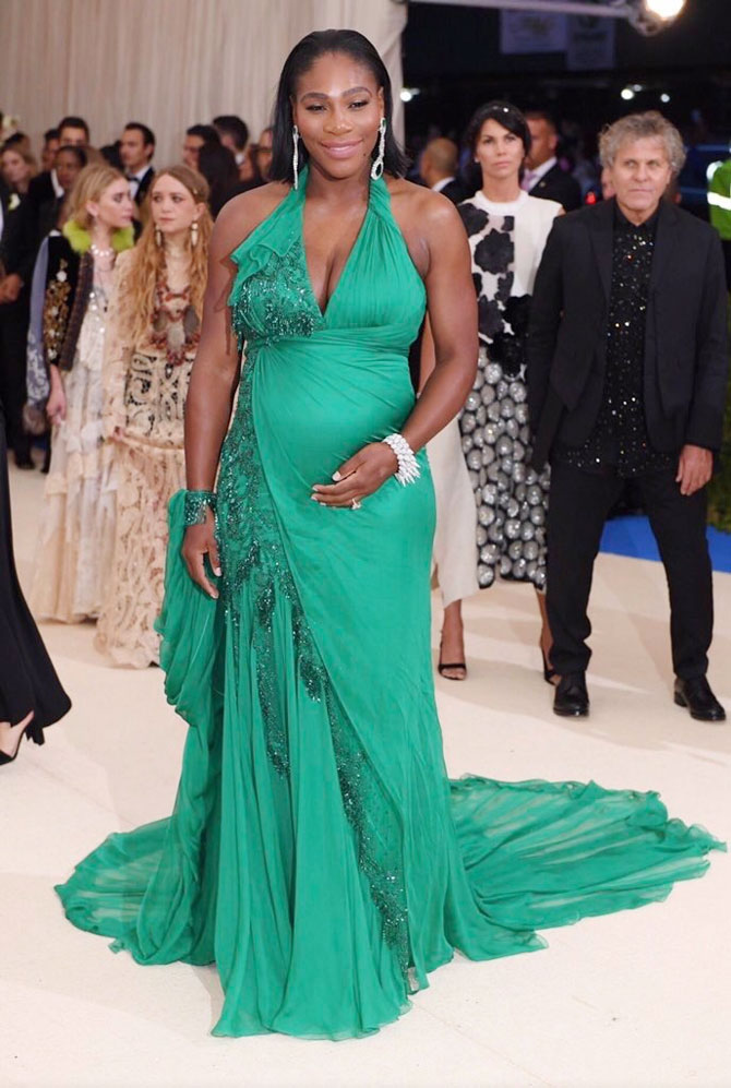 A glowing Serena Williams at the Met Gala in New York City, New York, on Monday