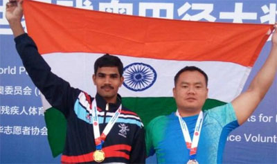 Ramudri Someswara Rao (right) and Sep Hokato Sema after winning medals at World Para Athletics Grand Prix