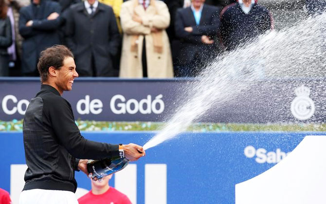 Rafael Nadal celebrates his Barcelona Open title win on Sunday by spraying cava