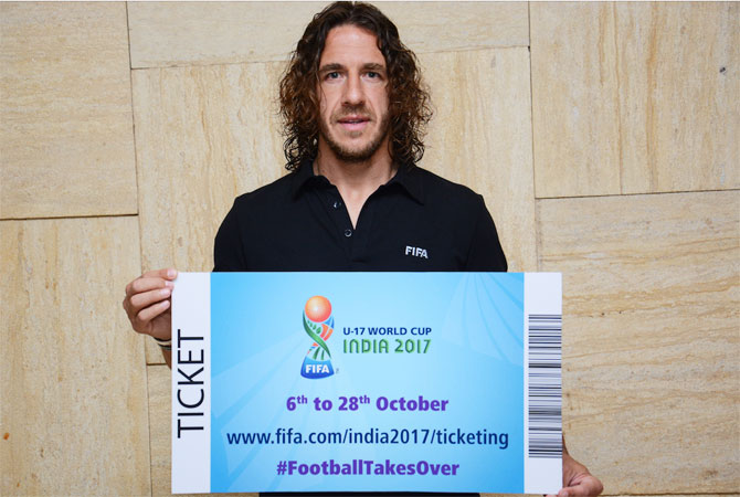 Former Barcelona captain and Spain's national footballer Carles Puyol launches the tickets for FIFA U-17 World Cup India 2017