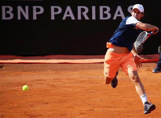 Dominic Thiem in action during the Italian Open quarters against Rafael Nadal