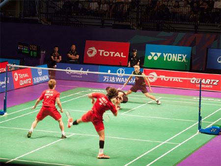 Action from the doubles match between Denmark and Indonesia at the Sudirman Cup on Wednesday