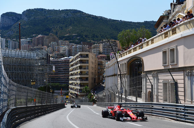 Sebastian Vettel drives his Scuderia Ferrari SF70H through the scenic Circuit de Monaco