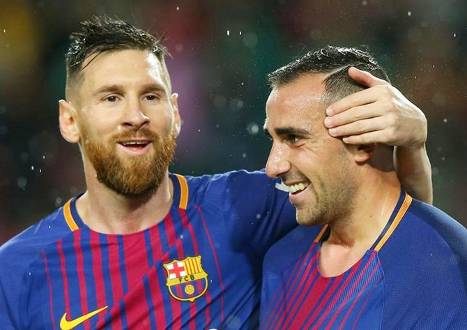Lionel Messi and Paco Alcacer