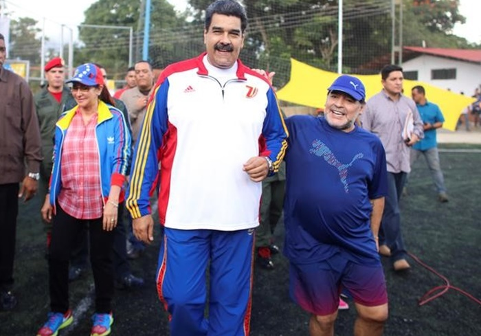 Rediff Sports - Cricket, Indian hockey, Tennis, Football, Chess, Golf - Maradona cozies up to controversial Venezuelan President