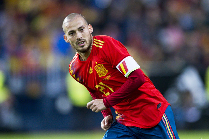 Spain's David Silva reacts during the international friendly match against Costa Rica at La Rosaleda Stadium in Malaga, Spain, on Saturday