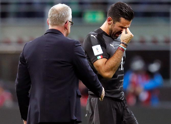 Rediff Sports - Cricket, Indian hockey, Tennis, Football, Chess, Golf - Teary farewell for Buffon after Italy's World Cup failure