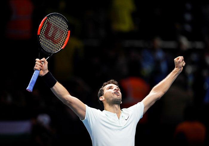 Rediff Sports - Cricket, Indian hockey, Tennis, Football, Chess, Golf - ATP Tour Finals: Sublime Dimitrov thrashes Goffin to reach semis