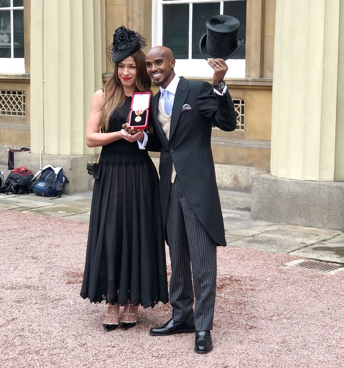 Sir Mo Farah and his wife Tania Nell show off the medal