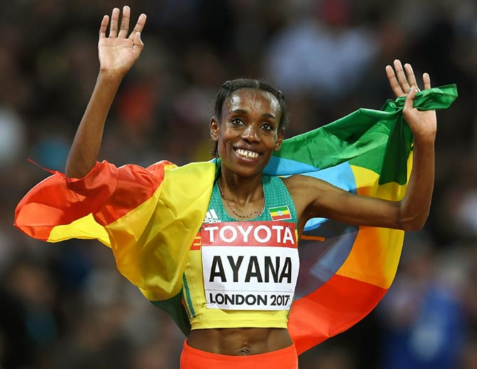 Rediff Sports - Cricket, Indian hockey, Tennis, Football, Chess, Golf - Ethiopia's Olympic champion Ayana loves Bollywood movies!