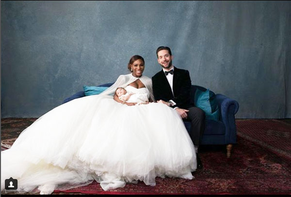 Serena Williams with husband Alexis Ohanian and child Alexis Olympia Ohanian Jr at their wedding ceremony
