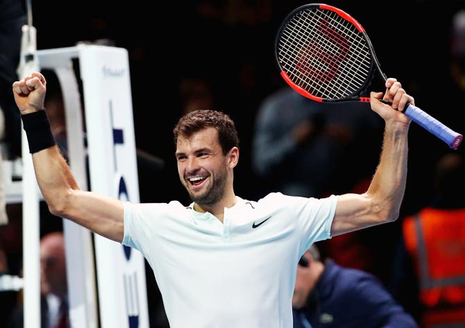 Rediff Sports - Cricket, Indian hockey, Tennis, Football, Chess, Golf - Dimitrov snaps Sock jinx, to set up Goffin final