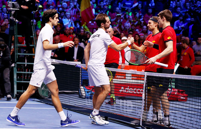 Rediff Sports - Cricket, Indian hockey, Tennis, Football, Chess, Golf - Davis Cup final: France win doubles, take 2-1 lead vs Belgium