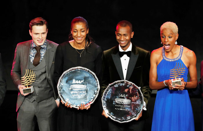 Belgium's Nafissatou Thiam (2nd from left) with the Female Athlete Of The Year award, Qatar's Mutaz Essa Barshim (2nd from right) with the Male Athlete Of The Year award, Venezuela's Yulimar Rojas (right) with the Women's Rising Star Award and Norway's Karsten Warholm (left) with the Male Rising Star Award celebrate with their trophies at the IAAF Athletics Awards, at Grimaldi Forum in Monaco on Saturday