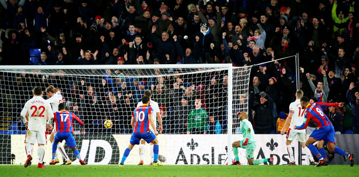 Crystal Palace's Mamadou Sakho scores their second goal against Stoke City at Selhurst Park in London