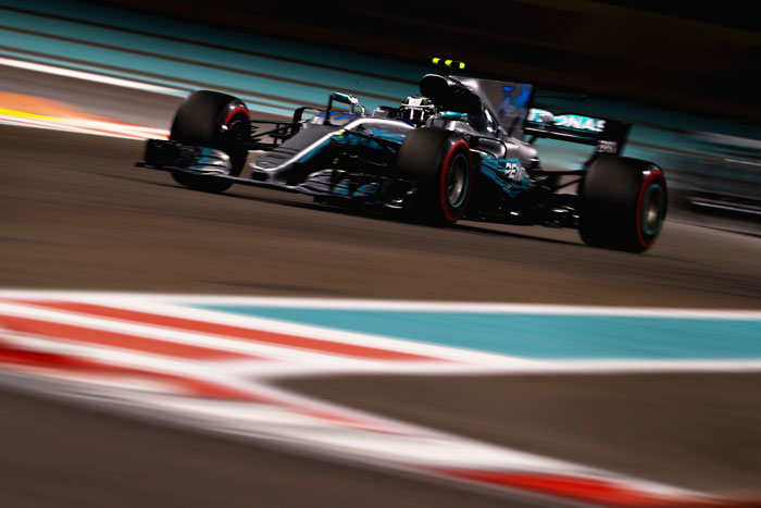 Valtteri Bottas driving the (77) Mercedes AMG Petronas F1 Team Mercedes F1 WO8 races on track during the Abu Dhabi Formula One Grand Prix at Yas Marina Circuit in Abu Dhabi on Sunday