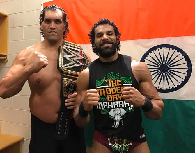 Want to join the wwe listen to the great khali rediff sports image the great khali with jinder mahal photograph kind courtesy cwefacebook voltagebd Image collections