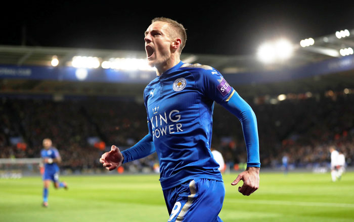 Leicester City's Jamie Vardy celebrates scoring against Tottenham Hotspur during their match at the King Power Stadium in Leicester on Tuesday