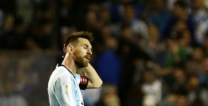 Argentina's Lionel Messi cuts a figure of frustration at the end of their 2018 World Cup qualifier against Peru at La Bombonera stadium in Buenos Aires on Thursday