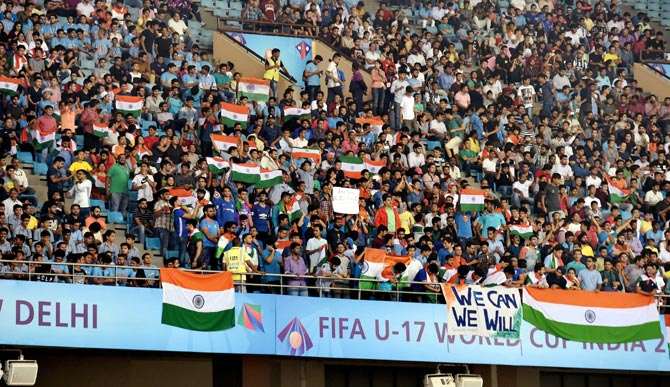 Fans at the Jawaharlal Nehru Stadium in New Delhi during a match at the FIFA Under-17 World Cup
