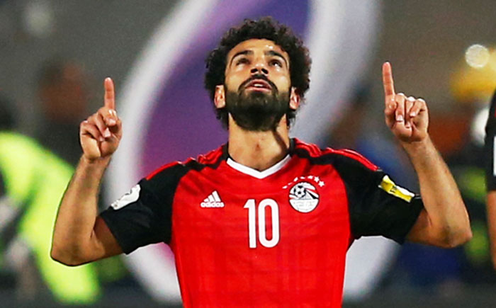 Egypt's Mohamed Salah celebrates scoring a goal against Congo during their World Cup qualifiers at Borg El Arab Stadium, Alexandria, Egypt on Sunday