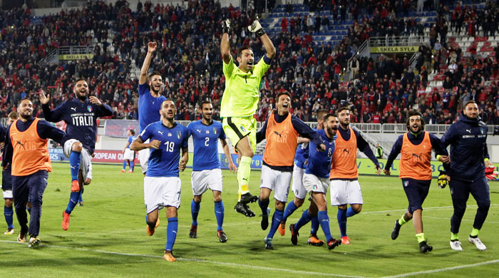 Italy players celebrate after the match against Albania on Monday
