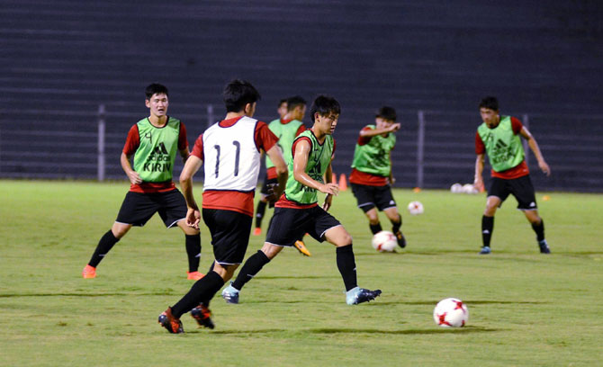 The Japan Under-17 football players at a training session in Guwahati
