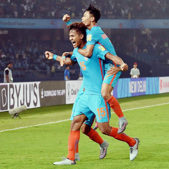 16-year-old Jeakson Singh (left) will go down in history as India's first goal-scorer in a FIFA World Cup competition