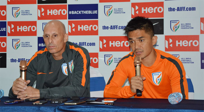 India football coach Stephen Constantine and captain Sunil Chhetri