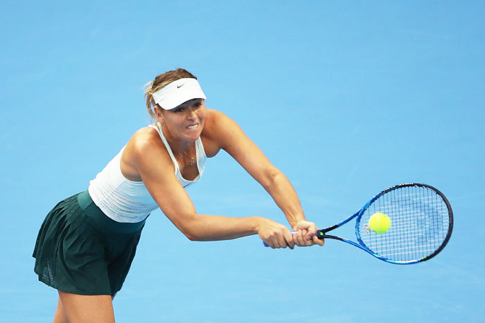 Maria Sharapova was broken in the first game but fought back to go level and take the first set with a hold to love
