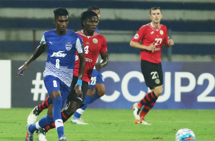 Action from the match between Bengaluru FC and Istiklol in Bengaluru on Wednesday