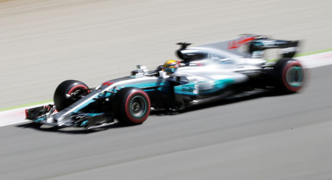 Mercedes' Lewis Hamilton in action during the Italian F1 GP at Monza on Sunday
