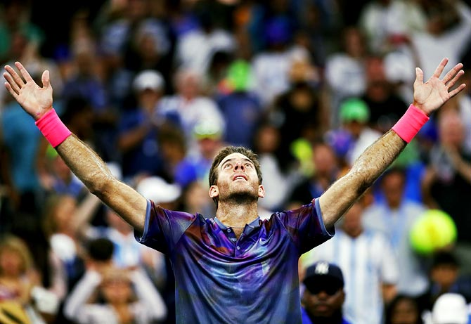 Rediff Sports - Cricket, Indian hockey, Tennis, Football, Chess, Golf - US Open PIX: Ailing Del Potro survives, Federer eases through