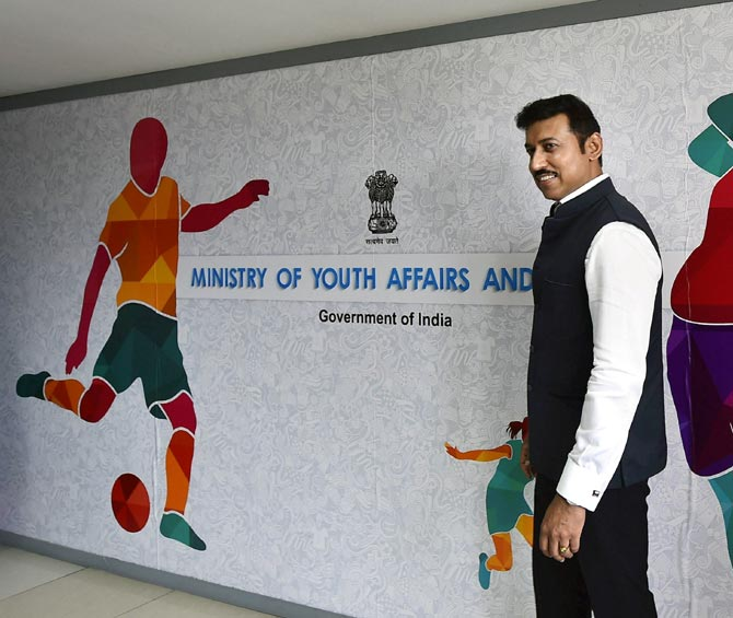 Rediff Sports - Cricket, Indian hockey, Tennis, Football, Chess, Golf - A pathway from schools to Olympics: Rathore's grand plan for Indian sports
