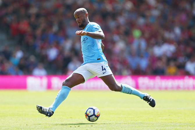 Manchester City's Vincent Kompany in action during the Premier League match against AFC Bournemouth at Vitality Stadium on August 26