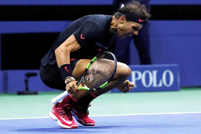 Rediff Sports - Cricket, Indian hockey, Tennis, Football, Chess, Golf - US Open Pix: Nadal battles back to tame Del Potro for final spot