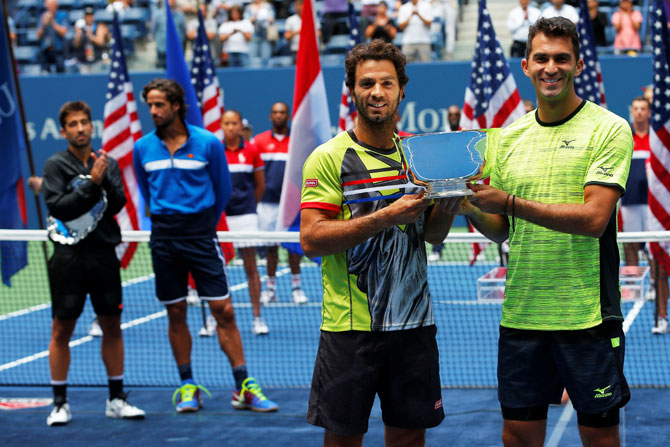 Rediff Sports - Cricket, Indian hockey, Tennis, Football, Chess, Golf - US Open: Rojer makes political point in doubles triumph with Tecau