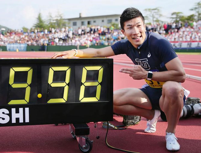 Yoshihide Kiryu who became the first Japanese to break the 10-second barrier, poses after winning the men's 100 meters final with a time of 9.98 seconds at an intercollegiate meet in Fukui, Fukui Prefecture, Japan, on Saturday
