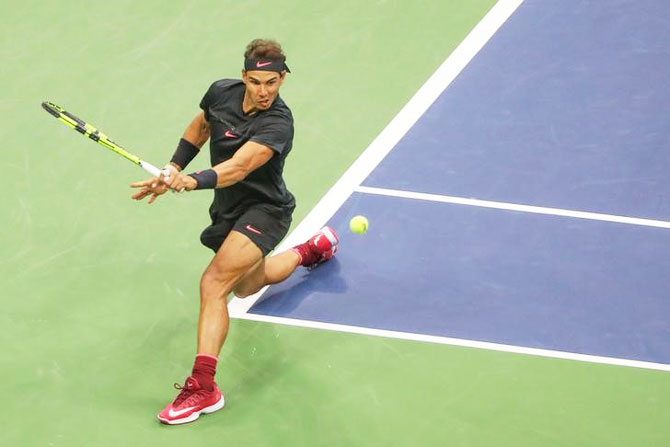 Rafael Nadal on his way to winning his third US Open title, September 11, 2017. Photograph: Anthony Gruppuso-USA TODAY Sports