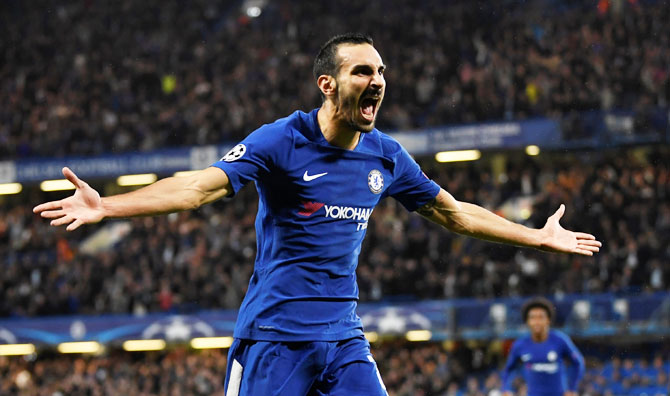 Chelsea's Davide Zappacosta celebrates scoring their second goal against Qarabag FK at Stamford Bridge on Tuesday