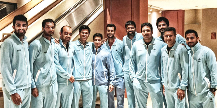 The Indian Davis Cup team with coach Zeeshan Ali and captain Mahesh Bhupathi