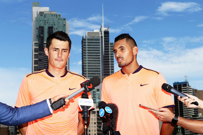 Nick Kyrgios and Bernard Tomic (left) have described each other as friends and allies in the past, and occasionally defended each other against accusations of brattish behaviour on and off the court