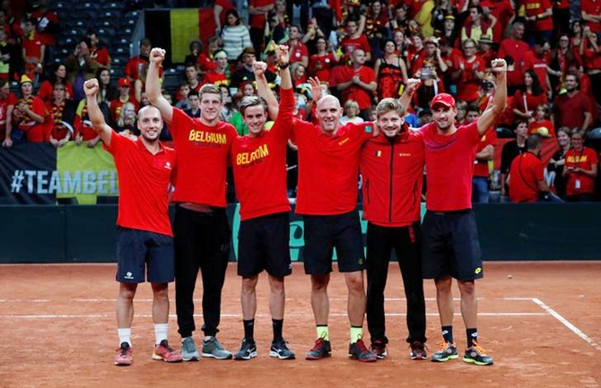 Belgium's David Goffin and Steve Darcis celebrate with team after winning the semi finals