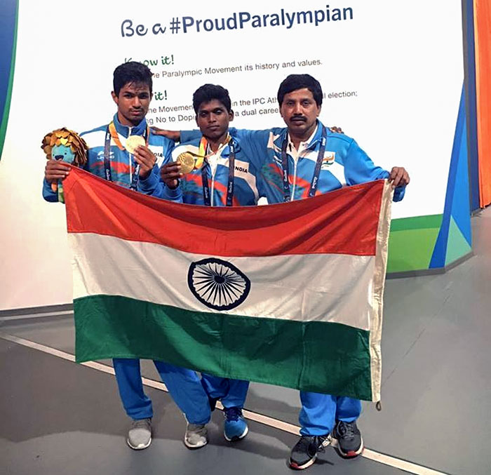 Varun Bhati, Mariyappan Thangavelu and Satyanarayana Shimoga at the Rio Olympics