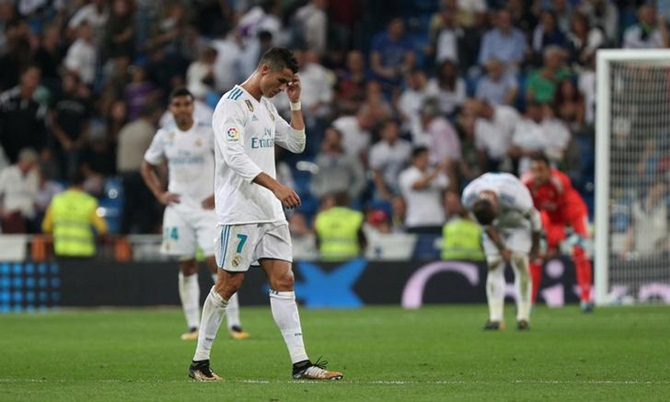 Cristiano Ronaldo reacts after the goal